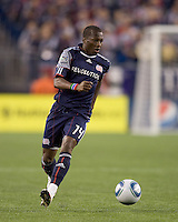 New England Revolution midfielder Sainey Nyassi (14) moves down the wing. The Colorado Rapids defeated the New England Revolution, 2-1, at Gillette Stadium on April 24, 2010.