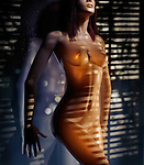 Beautiful naked woman standing leaning against glass with light coming throught window blinds falling on her nude body. Photorealistic 3D illustration.