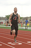 NWA Democrat-Gazette/BEN GOFF @NWABENGOFF<br /> Cody Johnson of Bigelow runs in the 100 meter dash Thursday, April 20, 2017, during the Never Say Never Foundation's Battle of the Blades at the McDonald Relays at Fort Smith Southside. The meet is Johnson's second after returning to running, on a new prosthetic leg, five months ago.