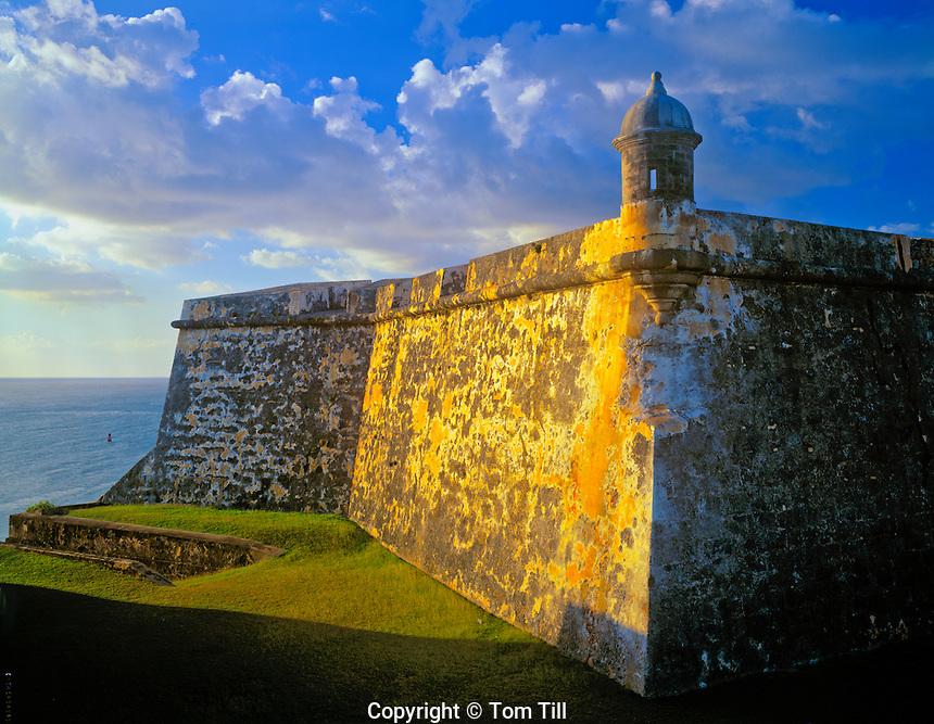 Walls of El Morro, San Juan National Historic site, San Juan, Puerto Rico, 16th century Spanish fort,  Oldest European building in the United States