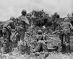 Marines advancing on Japanese positions on Saipan drop demolition charges into a nest. This si the safest and easiest was to flush them out of their hiding places and those who escape  the blast will be picked off by expert Marine riflemen in the foreground.