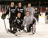 Truman Reed (PC - 23), Alex Cromwell (PC - 28), Jake Walman (PC - 19)-Robbie Hennessey (PC - 25), Brian Pinho (PC - 26) - The Providence College Friars practiced at Fenway on Friday, January 6, 2017, in Boston, Massachusetts.