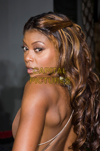 "TARAJI HENSON.At the ""Hustle & Flow"" Los Angeles Film Premiere,.held at the Arclight Cinerama Dome, .Hollywood, California, USA, 20th July 2005..portrait headshot looking back behind over shoulder.Ref: ADM.www.capitalpictures.com.sales@capitalpictures.com.©Zach Lipp/AdMedia/Capital Pictures."