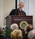 Jan. 27, 2014; His Eminence Jean-Louis Cardinal Tauran gives remarks after receiving an honorary Doctor of Laws Degree from the University of Notre Dame at the Notre Dame Rome Centre.<br /> <br /> Photo by Matt Cashore/University of Notre Dame