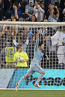 Claudio Bieler (16) forward Sporting KC celebrate this game winning goal..Sporting Kansas City defeated D.C Utd 1-0 at Sporting Park, Kansas City, Kansas.