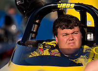 Aug. 30, 2013; Clermont, IN, USA: NHRA super comp driver Troy Coughlin Jr during qualifying for the US Nationals at Lucas Oil Raceway. Mandatory Credit: Mark J. Rebilas-