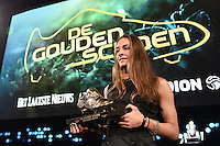 20170208 – LINT ,  BELGIUM : Tessa Wullaert pictured during the  63nd men edition of the Golden Shoe award ceremony and 1st Women's edition, Wednesday 8 February 2017, in Lint AED studio. The Golden Shoe (Gouden Schoen / Soulier d'Or) is an award for the best soccer player of the Belgian Jupiler Pro League championship during the year 2016. The female edition is a first in Belgium.  PHOTO DIRK VUYLSTEKE   Sportpix.be