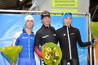 SCHAATSEN: DEVENTER: IJsbaan De Scheg, 16-10-2016, Holland Cup, Podium 5000m, Chris Huizinga, Simon Schouten, Willem Hoolwerf, ©foto Martin de Jong