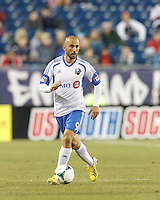 Montreal Impact forward Marco Di Vaio (9). In a Major League Soccer (MLS) match, Montreal Impact (white/blue) defeated the New England Revolution (dark blue), 4-2, at Gillette Stadium on September 8, 2013.