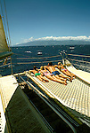 HI: Hawaii: Catamaran sailing off Maui. Photo: hikids101  .Photo copyright Lee Foster, www.fostertravel.com, 510/549-2202, lee@fostertravel.com,