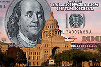 Texas State budget in Fiscal Crisis Danger, Digital composite, Texas State Capitol with One hundred dollar bill