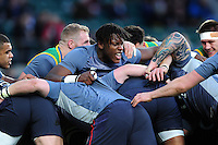 Maro Itoje of England in action during the pre-match warm-up. RBS Six Nations match between England and France on February 4, 2017 at Twickenham Stadium in London, England. Photo by: Patrick Khachfe / Onside Images