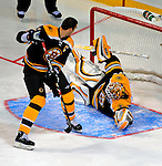 24 January 2009: Boston Bruins goaltender Tim Thomas stops teammate Zdeno Chara in the second round of the Elimination Shootout of the NHL SuperSkills Competition, during the All-Star Weekend at the Bell Centre in Montreal, Quebec, Canada. ***** Editorial Sales Only ***** Mandatory Photo Credit: Ed Wolfstein Photo