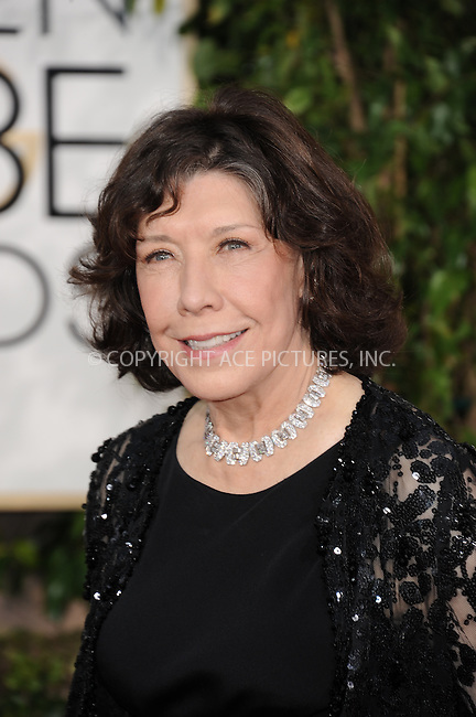 WWW.ACEPIXS.COM<br /> <br /> January 11 2015, LA<br /> <br /> Lily Tomlin arriving at the 72nd Annual Golden Globe Awards at The Beverly Hilton Hotel on January 11, 2015 in Beverly Hills, California. <br /> <br /> <br /> By Line: Peter West/ACE Pictures<br /> <br /> <br /> ACE Pictures, Inc.<br /> tel: 646 769 0430<br /> Email: info@acepixs.com<br /> www.acepixs.com
