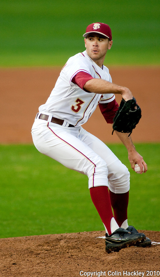 TALLAHASSEE, FL 3/12/10-FSU-UV BASE10 CH02-Florida State's Sean Gilmartin pitches during first inning action against Virginia Friday at Dick Howser Stadium in Tallahassee. The Cavaliers broke the Seminoles 2010 12 game winning streak beating them 5-0...COLIN HACKLEY PHOTO