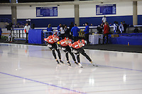 SCHAATSEN: CALGARY: Olympic Oval, 09-11-2013, Essent ISU World Cup, Team Pursuit, Bram Smallenbroek, Linus Heidegger, Armin Hager (AUT), ©foto Martin de Jong
