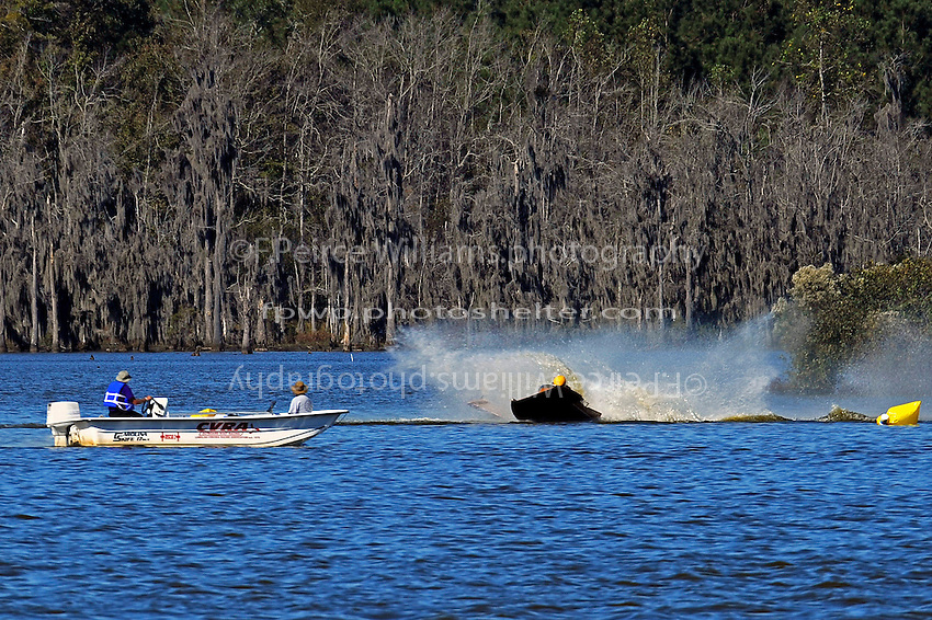 Frame 7: Erin Pittman, 6-H spins to stop in turn one, dumping her out.   (outboard hydroplane)
