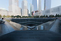 The South Pool of the National 9/11 Memorial, inscribed with the names of those who perished on 9/11.