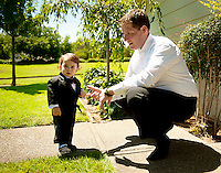Groom Chris Barnes checks out his dapper ring bearer before his wedding in Napa, CA.