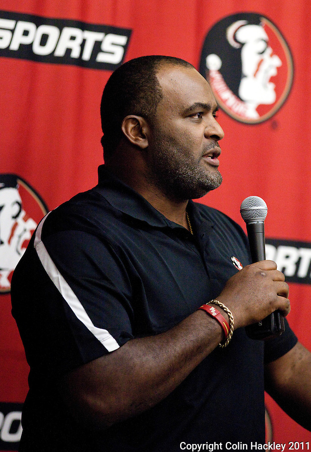 TALLAHASSEE, FLA. 2/2/11-FSUSIGN020211CH-Defensive Line Coach Odell Haggins talks about his new recruits during the 2011 national signing day war party in Tallahassee...COLIN HACKLEY PHOTO