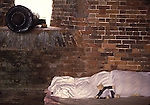 A stuffed toy bear rests on a pillow near a cannon during the Battle of Fort Morgan, Mobile, Al in 2001. Jim Bryant Photo. @2001. All Rights Reserved.