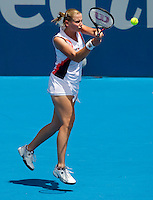 Jelena Dokic (AUS) against Svetlana Kuznetsova (RUS) in the first round of the women's singles. Svetlana Kuznetsova beat Jelena Dokic 6-2 6-2..International Tennis - Medibank International Tournament - Olympic Park - Sydney - Day 1 - Sun 9th January 2011..© Frey - AMN Images, Level 1, Barry House, 20-22 Worple Road, London, SW19 4DH.Tel - +44 208 947 0100.Email - Mfrey@advantagemedianet.com.Web - www.amnimages.photshelter.com