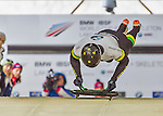9 January 2016: John Farrow, competing for Australia, pushes off for his first run start of the BMW IBSF World Cup Skeleton race at the Olympic Sports Track in Lake Placid, New York, USA. Farrow ended the day with a combined 2-run time of 1:51.43 and a 17th place overall finish. Mandatory Credit: Ed Wolfstein Photo *** RAW (NEF) Image File Available ***