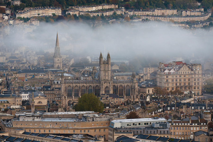A view of Bath and the Abbey from Beechen Cliff. Bath, UK, May 16, 2015. The UNESCO World Heritage city of Bath is famed for its hot spa that dates back to Roman times and for its Georgian architecture. For much of its history the city has been a popular holiday resort. It is the only hot spa in the UK.