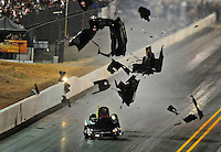 Jul. 16, 2010; Sonoma, CA, USA; NHRA funny car driver Gary Densham blows the body off his car during qualifying for the Fram Autolite Nationals at Infineon Raceway. Mandatory Credit: Mark J. Rebilas-