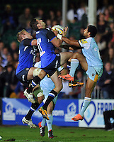 Jack Cuthbert claims the ball in the air. Aviva Premiership match, between Bath Rugby and Northampton Saints on September 14, 2012 at the Recreation Ground in Bath, England. Photo by: Patrick Khachfe / Onside Images
