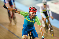 Picture by Alex Whitehead/SWpix.com - 05/03/2017 - Cycling - UCI Para-cycling Track World Championships - Velo Sports Center, Los Angeles, USA - Brazil's Lauro Cesar Chaman celebrates winning the Scratch race before later being demoted to Bronze.