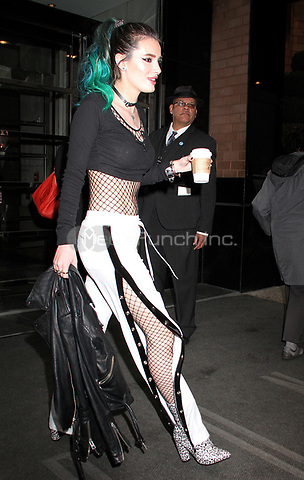 NEW YORK, NY - APRIL19: Bella Thorne spotted leaving her hotel; Thorne's in town to promote her Freeform television series 'Famous in Love' n New York, New York on April 19, 2017.  Photo Credit: Rainmaker Photo/MediaPunch