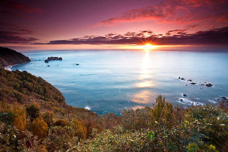 Sunset at Knights Point, West Coast, South Island, New Zealand - stock photo, canvas, fine art print