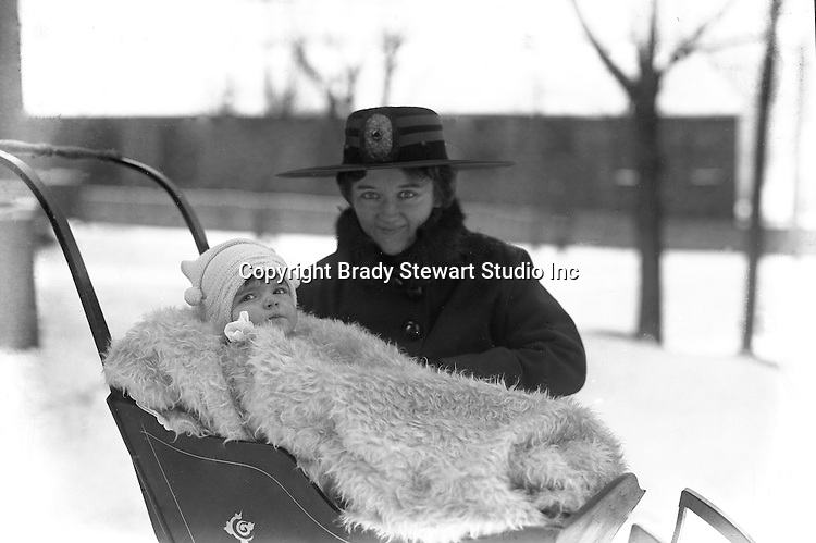 Wilkinsburg PA:  Sarah and Helen Stewart out for a walk in the new sleigh - 1917