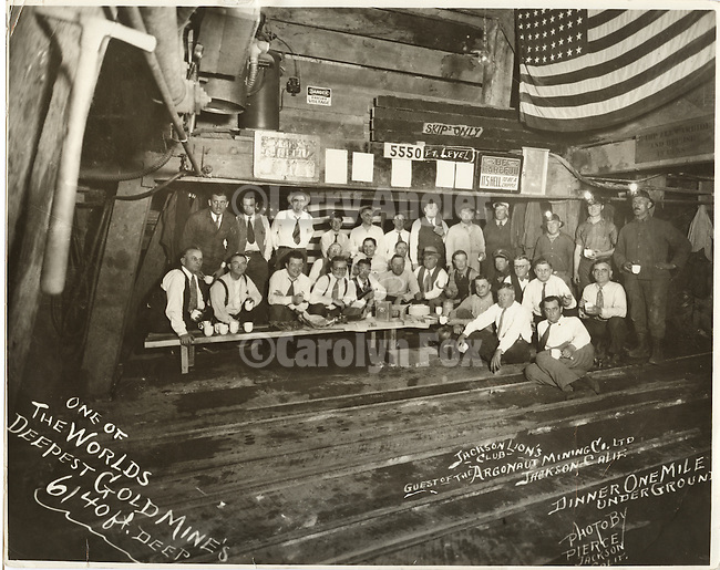 Historic photo of the Jackson Lion's Club dinner one mile underground in the Argonaut Mine in