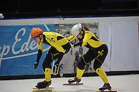 SHORTTRACK: AMSTERDAM: 04-01-2014, Jaap Edenbaan, NK Shorttrack, Prominenten Relay, Team SKATE4AIR, Cees Juffermans, Anke Jannie Landman, ©foto Martin de Jong