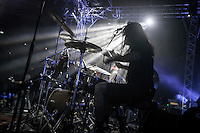 August 27, 2014 - Binyamina, Haifa District, Israel: Matan, drummer at Orphaned Land heavy metal band, performs a concert in Binyamina Amphitheatre at north of Israel. Orphaned Land is a music band founded by Jewish and Arabian musicians who combine ethnic music with rock metal as they recite verses in Hebrew and Arabic from the sacred Quram and Tora Scriptures. (Narciso Contreras/Polaris)