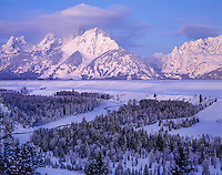 Grand Teton National Park, WY   <br /> Winter dawn on the Grand Teton Peaks from the Snake River Overlook