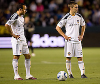 LA Galaxy forward Landon Donovan (10-l) and teammate midfielder Michael Stephens (26-r) waiting patiently for the refs whistle. The LA Galaxy and Toronto FC played to a 0-0 draw at Home Depot Center stadium in Carson, California on Saturday May 15, 2010.  .