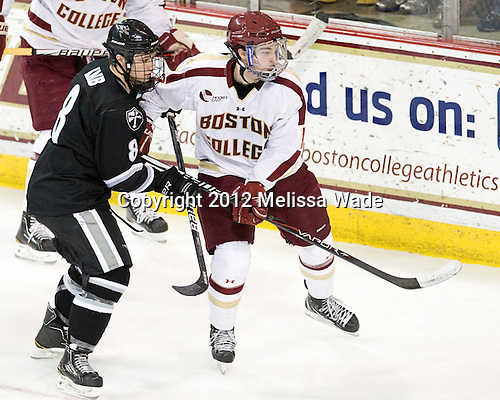 Barrett Kaib (PC - 8), Destry Straight (BC - 17) - The Boston College Eagles defeated the Providence College Friars 7-0 on Saturday, February 25, 2012, at Kelley Rink at Conte Forum in Chestnut Hill, Massachusetts.