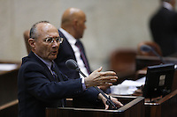 MK Uzi Landau during a vote on the so-called governability law. The governance law would raise the electoral threshold from 2 percent to 4 percent. Photo by Oren Nahshon