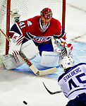 10 April 2010: Montreal Canadiens' goaltender Jaroslav Halak makes a second period save on Toronto Maple Leafs' left wing forward Viktor Stalberg at the Bell Centre in Montreal, Quebec, Canada. The Maple Leafs defeated the Canadiens 4-3 in sudden death overtime. Mandatory Credit: Ed Wolfstein Photo