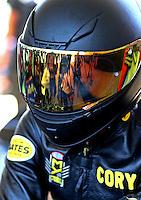 May 14, 2016; Commerce, GA, USA; NHRA pro stock motorcycle rider Cory Reed during qualifying for the Southern Nationals at Atlanta Dragway. Mandatory Credit: Mark J. Rebilas-USA TODAY Sports