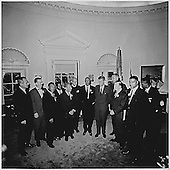 Photograph of United States President John F. Kennedy's meeting in the Oval Office of the White House in Washington, DC with the leaders of the March on Washington on August 28, 1963.  From left to right: Willard Wirtz, Martin Luther King, Jr., Eugene Carson Blake, John F. Kennedy, VP Lyndon Baines Johnson, Walter Reuther Others not in order A. Philip Randolph, John Lewis, Whitney Young, Mathew Ahmann, Joachin Prinz, Roy Wilkins, Floyd McKissick.<br /> Credit: White House via CNP