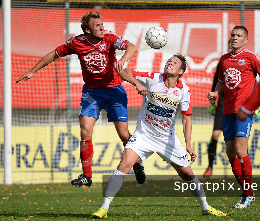 FC Gullegem - Londerzeel SK : duel tussen Nicolas Gezelle (midden) en Tim Scheers (links) <br /> foto VDB / BART VANDENBROUCKE