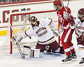 Joe Woll (BC - 31), Jordan Greenway (BU - 18), Casey Fitzgerald (BC - 5) - The visiting Boston University Terriers defeated the Boston College Eagles 3-0 on Monday, January 16, 2017, at Kelley Rink in Conte Forum in Chestnut Hill, Massachusetts.