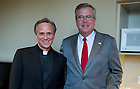 September 26, 2011; Rev. John l. Jenkins, C.S.C., president of Notre Dame with Jeb Bush, Florida's former governor and founder of the Foundation for Excellence in Education before of Gov. Bush's talk at Leighton Concert Hall as part of the 2011-2011 Notre Dame Forum. Photo by Barbara Johnston/University of Notre Dame