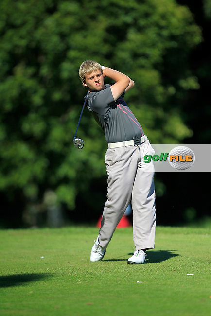 Andrew Morre (Bangor) on the 9th tee during Round 2 of the Ulster Boys' Amateur Open Championship in Clandeboye Golf Club on Wednesday 9th July 2014.<br /> Picture:  Thos Caffrey / www.golffile.ie