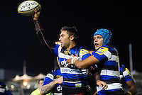 Matt Banahan of Bath Rugby celebrates his first half try with team-mates. Aviva Premiership match, between Bath Rugby and Sale Sharks on October 7, 2016 at the Recreation Ground in Bath, England. Photo by: Patrick Khachfe / Onside Images