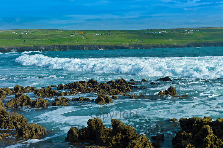 White horses waves off the coast of Doolin, County Clare, West Coast of Ireland